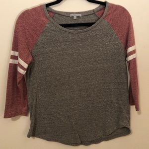 Casual Pink and Gray Baseball Tee